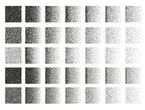 Set of 35 square stipple pattern for design. Tile spots. Set of 35 square stipple pattern for design . Spot engraving to create brushes . Engraving for retro Stock Photography