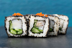 Set of square sushi rolls with white fish, vegs, cream cheese an Royalty Free Stock Photos