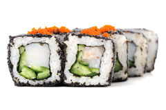 Set of square sushi rolls with white fish, vegs, cream cheese an Stock Photo