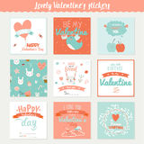 Set of 9 square Valentines day gift tags Royalty Free Stock Photos