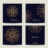 Set of square vector cards or invitations with mandala pattern. Set of square cards or invitations with mandala pattern. Vector vintage gold highly detailed Royalty Free Stock Image