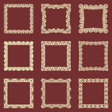 Set of square vintage frames  background. Vector design elements that can be cut with a laser. A set of frames made of dec. Orative lace borders Royalty Free Stock Image