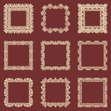Set of square vintage frames isolated background. Vector design elements that can be cut with a laser. A set of frames made of dec Royalty Free Stock Image