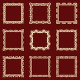 Set of square vintage frames isolated background. Vector design elements that can be cut with a laser. A set of frames made of decorative lace borders stock illustration