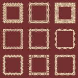 Set of square vintage frames isolated background. Vector design elements that can be cut with a laser. A set of frames made of dec Royalty Free Stock Photography