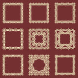 Set of square vintage frames isolated background. Vector design elements that can be cut with a laser. A set of frames made of dec Royalty Free Stock Photo