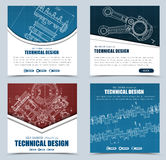 Set square web banners of red, blue and white, and black. Templa. Tes technical drawings with buttons and text. Vector illustration vector illustration