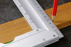 Set Square and Wood Stock Image
