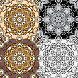 Set of squared backgrounds - ornamental seamless pattern. Royalty Free Stock Image