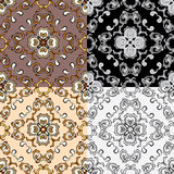 Set of squared backgrounds-ornamental seamless pattern. Royalty Free Stock Photo