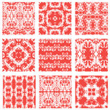 Set of squared backgrounds- ornamental seamless pattern. Royalty Free Stock Photos