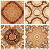 Set of squared backgrounds - ornamental seamless patterns. In brown, chocolate colors. Design for bandanna, carpet, shawl, pillow or cushion Stock Photo