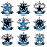 Set srebrzyste heraldyczne 3d glansowane ikony z curvy faborkami, najlepszy Obrazy Stock