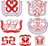 Set of SS monograms and emblem templates Royalty Free Stock Image