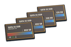 Set of SSD solid state drives Stock Photo