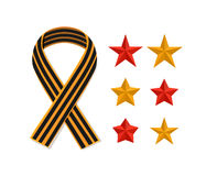 Set St George striped black orange ribbon and stars isolated on white. Vector symbol of Victory day Royalty Free Stock Image