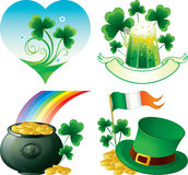 Set of st. Patrick cards. With a flag of Ireland, Patricks hat, coins, beer and shamrock Royalty Free Stock Photography