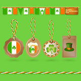 Set of St. Patrick Day tags. Vector illustration. Stock Image