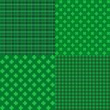 Set St Patrick dnia Bezszwowi wzory z koniczyną Zdjęcie Stock