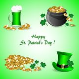Set of St. Patrick with a pot of gold coins, a mug of green beer, clover and green hat. On a green background stock illustration