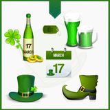 Set of St. Patrick's Day celebration ornaments. Royalty Free Stock Images