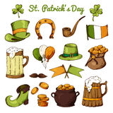 Set of St.Patrick's Day elements. Hand drawn collection of icons. Vector symbols on white background for your design Stock Photo