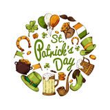 Set of St.Patrick's Day elements. Hand drawn collection of icons. Vector symbols on white background for your design Stock Image