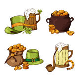 Set of St.Patrick's Day elements. Hand drawn collection of icons. Vector symbols on white background for your design.  Stock Images