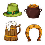 Set of St.Patrick's Day elements. Hand drawn collection of icons. Vector symbols on white background for your design Stock Photos