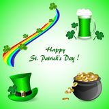 A set of elements for St. Patrick`s Day on a green background. A set of St. Patrick`s day elements, a pot of gold, green beer, a hat, a rainbow and clover leaves Royalty Free Stock Image