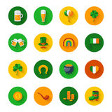 Set Of St. Patrick`s Day Flat Icons in Circles Royalty Free Stock Photos