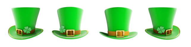 Set St. Patrick`s day green hat 3D illustration on a white background Stock Image