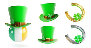 Set St. Patrick`s day green hat, horseshoe Royalty Free Stock Images
