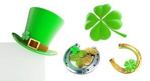Set St. Patrick`s day green hat, horseshoe 3D illustration Stock Image