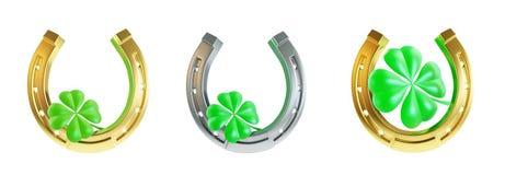 Set St. Patrick`s day horseshoe. Stock Images
