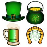 Set for St. Patrick`s Day. Attributes of St. Patrick`s Day: Hat, pot of gold, horseshoe with shamrock, mug with beer vector illustration