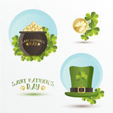 Set of St. Patrick's Day symbols in trendy flat style. Tradition colors with modern gradient.   Vector illustration Royalty Free Stock Photography