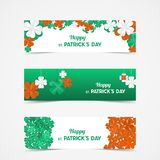 Set of St Patrick`s Day Vector banners with shamrock. Lucky spri. Ng symbol. Paper Clover flowers in Irish flag colors - green, white and orange. Border and vector illustration