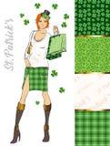 Set St Patrick ` s dnia wzory uroczy dziewczyna kapelusz Obrazy Stock