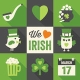 Set of 9 st patricks day flat icons with long shad Royalty Free Stock Images