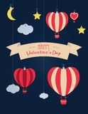 Set of  St. Valentine`s day illustration and typography elements. Clouds, balloons, moon Royalty Free Stock Images
