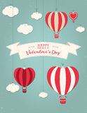 Set of  St. Valentine`s day illustration and typography elements. Clouds, balloons, ribbon, heart. Royalty Free Stock Image