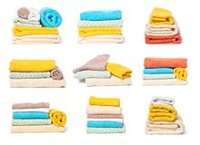 Set of stack`s of towels isolated on white isolated background stock image