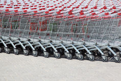 Set of stacked supermarket trolleys Royalty Free Stock Photos