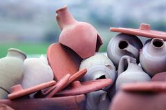 Set of stacked together broken clay pots. The Set of stacked together broken clay pots Stock Photography