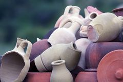 Set of stacked together broken clay pots. The Set of stacked together broken clay pots Royalty Free Stock Image