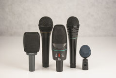Set of stage microphones Royalty Free Stock Photo