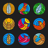 Set of stained glass birds and feathers icons - Stock vector illustration. Stock Images