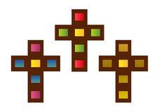 Set of stained glass crosses Stock Photography