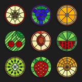 Set of stained glass fruits icons - Stock vector illustration. Stock Image